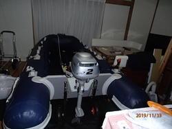 中古ディンギー・アルミ/ゴム/バス用ボート・カヌー/カヤックaf280ゴムボート2馬力船外機付き 免許不要